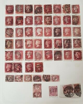Gb Stamps Queen Victoria 50+ Sg 43's 1D Red Pls + Sg 48S Used Joblot (1)