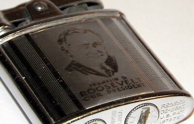 1933 art deco reverse etch franklin roosevelt president ronson princess lighter