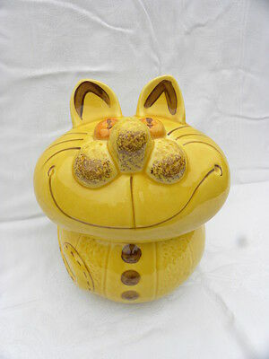 Los Angeles Potteries/California Ceramic Yellow/Gold Cheshire Fat Cat Cookie Jar