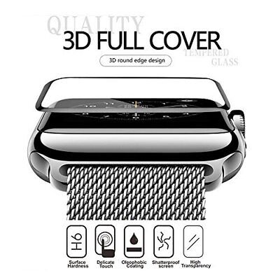 Apple Watch Full Screen Protector 42mm[Tempered Glass]Bumper Case 3DCurved-Black