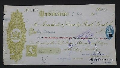 1923, Cheque ( THE MANCHESTER & COUNTY BANK LIMITED ) Manchester