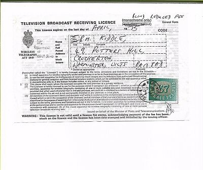 Tv Licence 1974 Reduced By ?? 50% For Registered Blind Person - Scarce