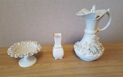 Belleek Basket, Stand, Pitcher & Vase. a/f