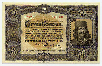 Hungary Pick 62 50 Korona banknote 1920 in UNC condition