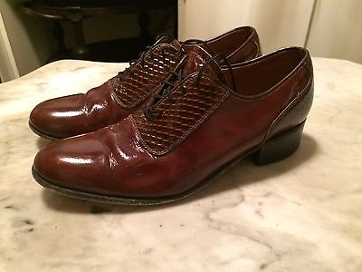 Vtg '70  disco hipster rockabilly costume patent leather mens shoes sz 8