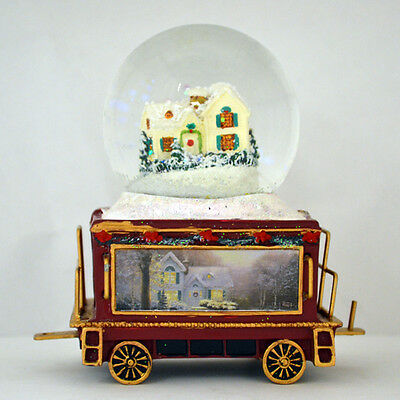 Wonderland Express Snowglobe Train Set #15  All is Calm Winter Thomas Kinkade