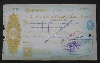 (A) 1923, Cheque ( THE MANCHESTER & COUNTY BANK LIMITED )