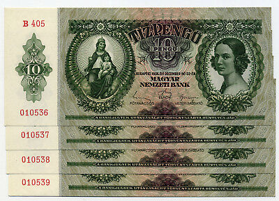 Hungary Pick 100 4 consecutive 10 Pengő  banknotes 1936 in UNC condition