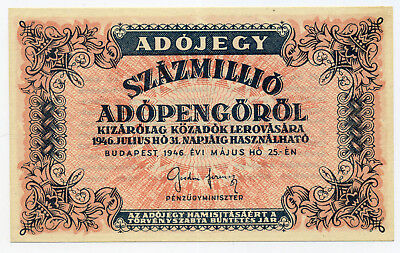 Hungary Pick 142a 100 Million Adópengő banknote in UNC condition