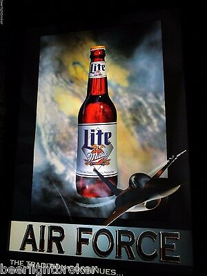 Miller lite ice light bar light sign beer bottle cap light huge vtg miller lite beer air force jet plane in motion bar light pub sign wow aloadofball Gallery