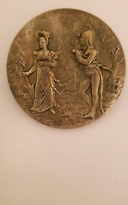 19th C LARGE FRENCH BUTTON ENCROYABLE & MERVEILLEUSE FRENCH FOPS IN PARIS SIGNED