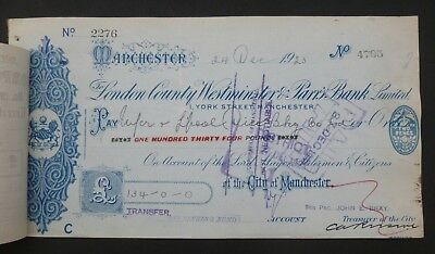 (B) 1923, Cheque ( LONDON COUNTY WESTMINSTER & PARR'S BANK LIMITED ) Manchester