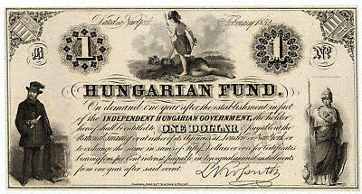 Hungary Pick S136r 1 Dollar Hungarian Fund banknote 1852 in EF+ condition