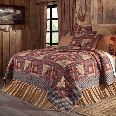 MILLSBORO Luxury King Quilt Primitive Country Rustic Log Cabin Block Burgundy