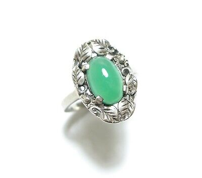 Beautiful Vintage Silver & Bright Green Chrysoprase Stone Ring Band N (C20)
