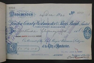 (C) 1923, Cheque ( LONDON COUNTY WESTMINSTER & PARR'S BANK LIMITED ) Manchester