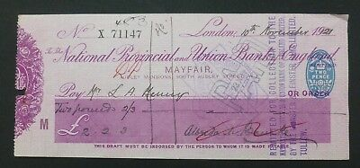 (D) 1921, Cheque ( NATIONAL PROVINCIAL & UNION BANK of ENGLAND ) Mayfair