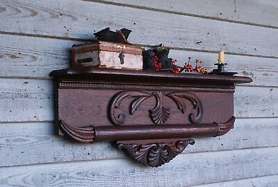 Antique Wall Shelf Carved Oak Patina circa 1870