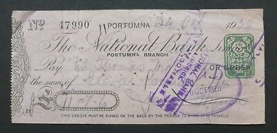 (E) 1928, Cheque, Portumna, Ireland ( THE NATIONAL BANK, LIMITED )