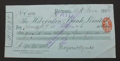 (F) 1906, Cheque, Portumna, Ireland (THE HIBERNIAN BANK, LIMITED) County Galway
