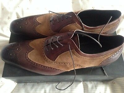 Mens Dune 2 tone Leather/Suede Brogue shoes size 10 - new!
