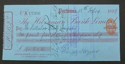 (G) 1899, Cheque, Portumna, Ireland (THE HIBERNIAN BANK, LIMITED) County Galway