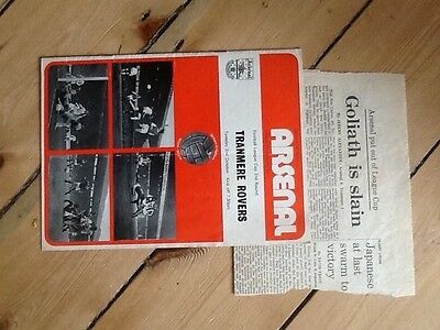 Arsenal v Tranmere Football League Cup 2nd rnd 2/10/73 with Guardian Report 0-1