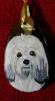 """Havanese hand painted on 2"""" oval Onyx Agate pendant/bead/necklace"""