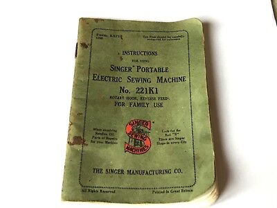 221K1 Vintage portable Featherweight Singer sewing machine instruction booklet