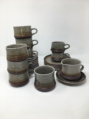 Vintage Stoneware Pottery England Speckled Job Lot Mugs, Plates, Milk Jug, Sugar