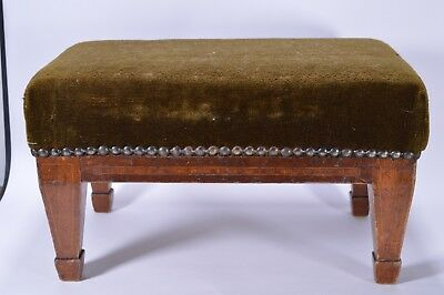 Antique Vintage Small Oak Footstool Upholstered Studded Re-Upholstering Project?