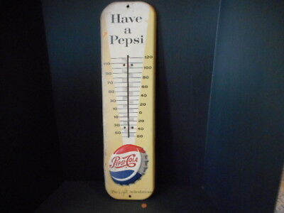 Vintage Embossed Metal Pepsi Soda Pop Thermometer - 1957