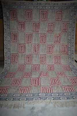 Handwoven Hand block printed bLACK AND indigo dabu cotton floral