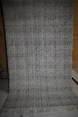 Indian Hand Block Print Rug Large Area Carpet Hand Loomed Rug 3'X5'