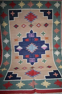 Handmade Cotton Prayer Rug Dhurrie Durrie 4'x6' 1
