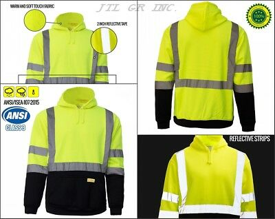 Pullover High Visible Safety Hoodie Hoody Sweatshirt ANSI class 3 - Yellow/Lime