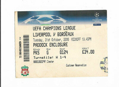 Ticket 2006/07 UEFA Champions League - LIVERPOOL v. GIRONDINS BORDEAUX