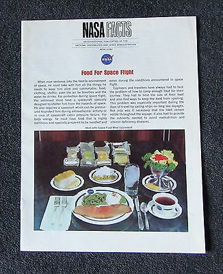 1967 NASA Facts FOOD FOR SPACE FLIGHT NF-41/12-67