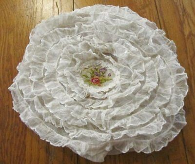 Beautiful French NET Lace Pettipoint Pillow Cover Vintage Flowers #2