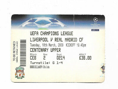 Ticket 2008/09 UEFA Champions League - LIVERPOOL v. REAL MADRID