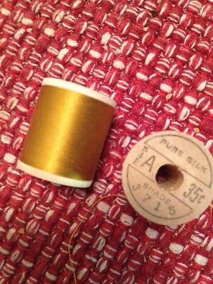 TWO Belding CORTICELLI Silk Winding Thread for Bamboo Fly Rod Gold #3715 Size A