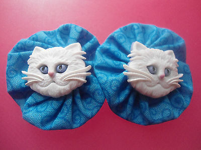 10 Assorted Cat Themed Hand Sewn Fabric Embellishments For Crafting Needs