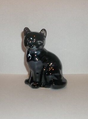 Fenton Art Glass BLACK CARNIVAL GLASS KITTY CAT - PLAIN - LQQK