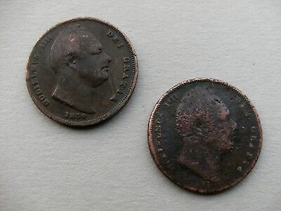 King William IIII - Two Copper Farthing Coins dated 1834,& 18??. Spink 3847/48.