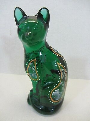 Fenton Hand Painted Glass Cat signed by D. Cutshaw