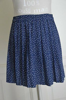 Gonna corta blu a pois con pighe vintage pleated polka dot navy mini skirt S/M
