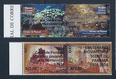 PANAMA STAMP (pair) NEW OVERPRINTS $1.00 AND $5.00 EACH X 2 MNH OG