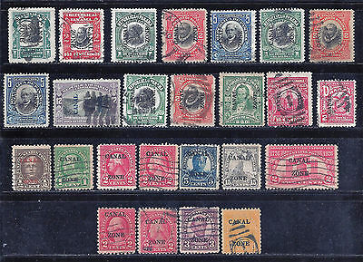 25 Canal Zone Old Overprinted Stamps - 1905-1931 - All Different - Used $$$$