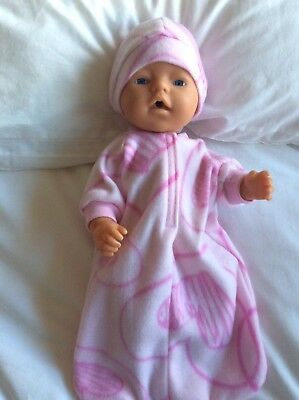 "Doll clothes - Sleeping Bag & Hat To Fit 17"" Baby Born Doll  Pink / Pink Pattern"
