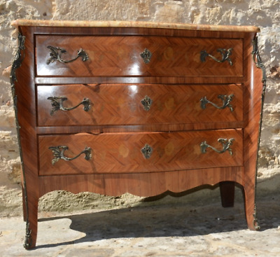 Antique French Louis XVI Tulipwood Parquetry Bombe Chest of Drawers